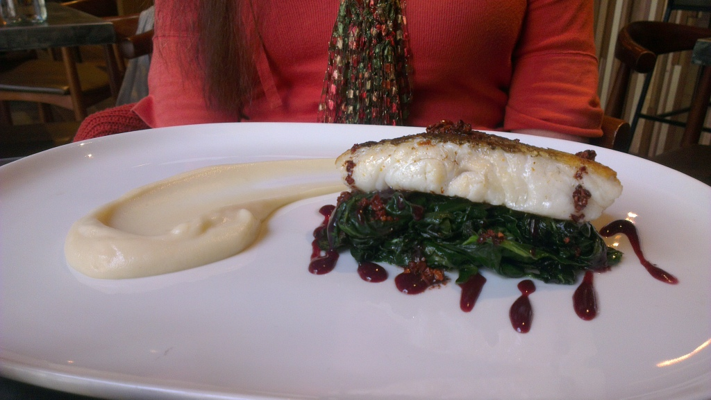 Roast Fillet of Cod with Nib Spinach and Celeriac Pureé