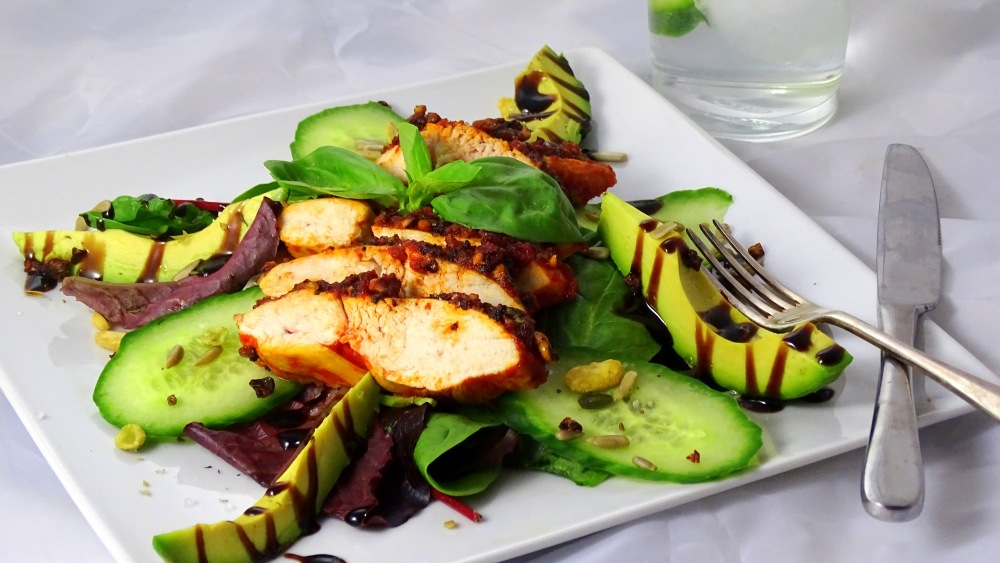 ... potatoes – I went for a cucumber and avocado salad to give it that